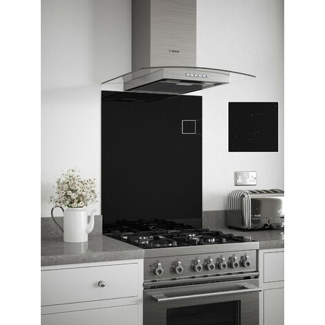 Black Sparkle Glass Kitchen Splashbacks - different dimensions available