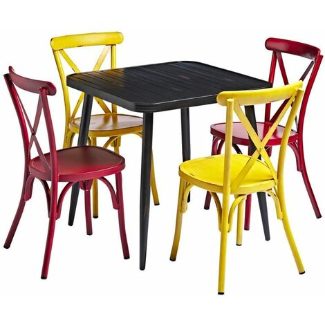"""main image of """"Black Square Cafe Table And Chairs Set"""""""