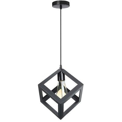 """main image of """"Black Square Metal Ceiling Lamp Geometric Cube Pendant Light E27 Modern Pendant Lamp Modern Hanging Light for Loft Cafe Bar Restaurant"""""""