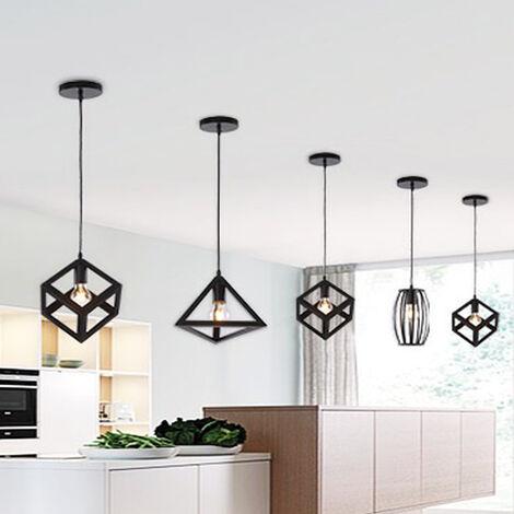 Black Square Metal Ceiling Lamp Unique Geometric Cube Pendant Light E27 Retro Suspension Lighting Restaurant Drop light for Loft Cafe Bar