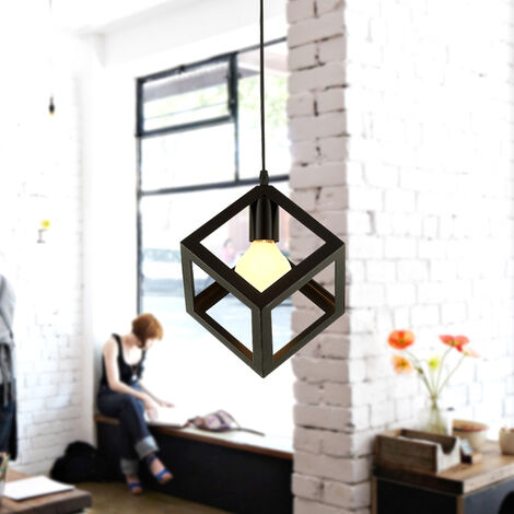 Black Square Metal Ceiling Lamp Unique Geometric Cube Pendant Light E27 Retro Suspension Lighting Restaurant Droplight for Loft Cafe Bar