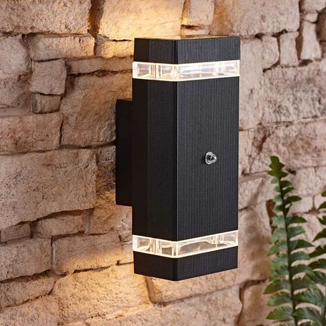 Black Square Modern Outdoor Up Down Wall Light Dusk till Dawn Sensor IP44 A++