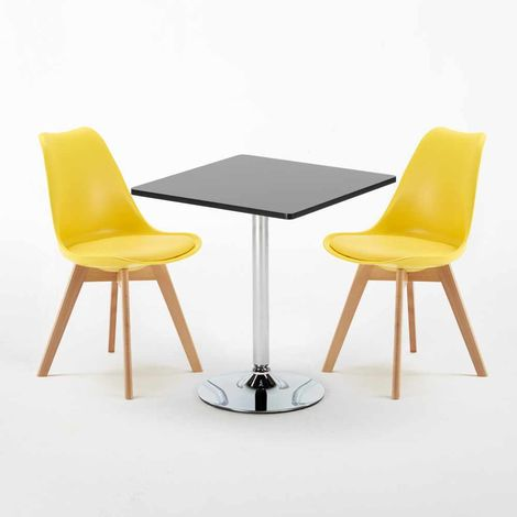 Black Square Table 70x70cm And 2 Chairs Home Interiors NORDICA MOJITO