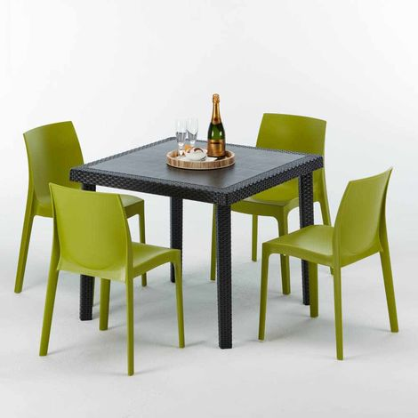 PASSION Set Made of a 90x90cm Black Square Table and 4 Colourful ROME Chairs | Green Anise
