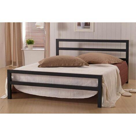 Black Square Tubular Metal Bed Frame - King Size 5ft