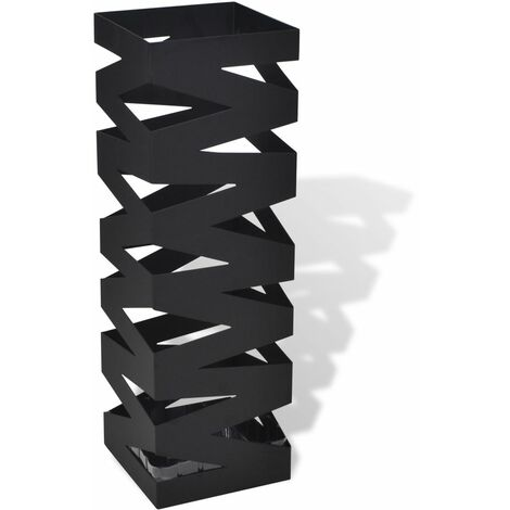 Black Square Umbrella Stand Storage Holder Walking Stick Steel 48.5 cm