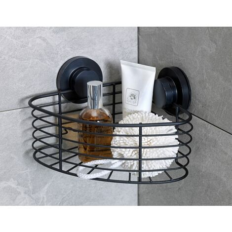Black Suction Fixed Single Corner Bathroom Storage Caddy