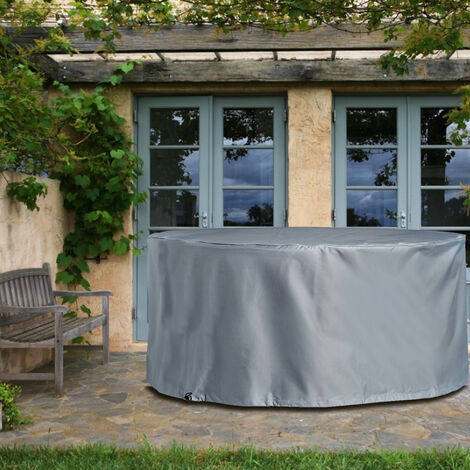 Black Table Chair Cover Round Outdoor Waterproof Garden Furniture Cover(Silver,D185cm x H110cm)