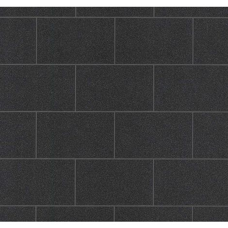 Black Tile Effect Glitter Wallpaper