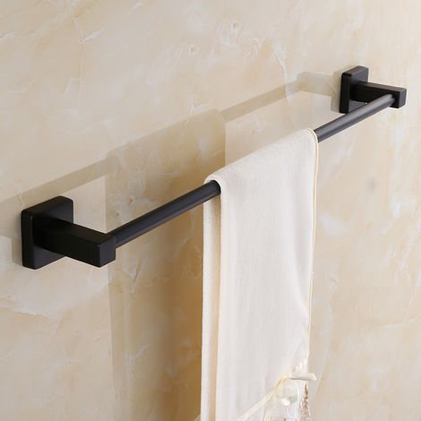 Black Towel Bar Wall Mount Stainless Steel 600Mm Pr Bathroom Hasaki