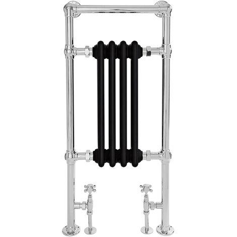 Black Traditional Heated Towel Rail - 930mm x 452mm