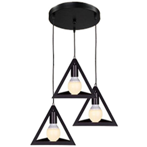 Black Triangle Metal Pendant Light Adjustable Lamp Shade 3 Lights Retro Industrial Drop light Chandelier E27 Bulb