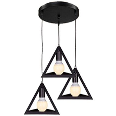 Black Triangle Metal Pendant Light Adjustable Lamp Shade 3 Lights Retro Industrial Droplight Chandelier E27 Bulb