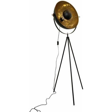 Black Tripod Studio Lamp with Gold Leaf Shade