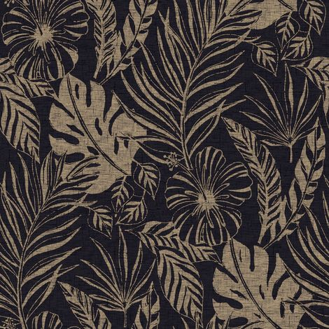 Black Tropical Leaves Leaf Wallpaper Metallic Gold Shimmer Floral Flowers Rasch