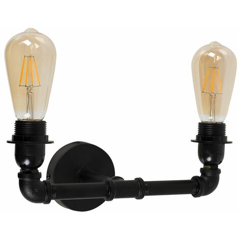 Black Twin Wall Light Metal LED Vintage