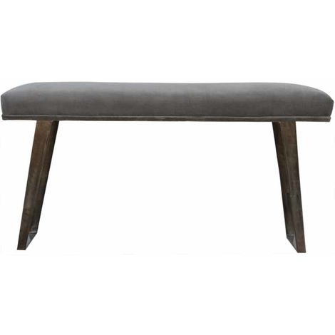 Black Velvet Bench with Pewter Legs