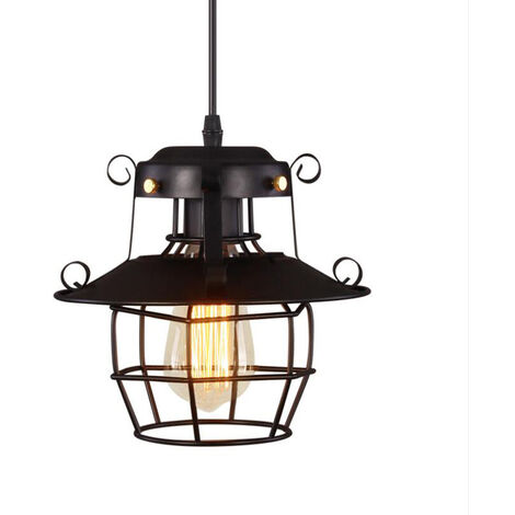 Black Vintage Pendant Hanging Light Fixtures Metal Cage Ceiling Light E27 Lamp Holder for Kitchen Living Room Dining Room Bedroom