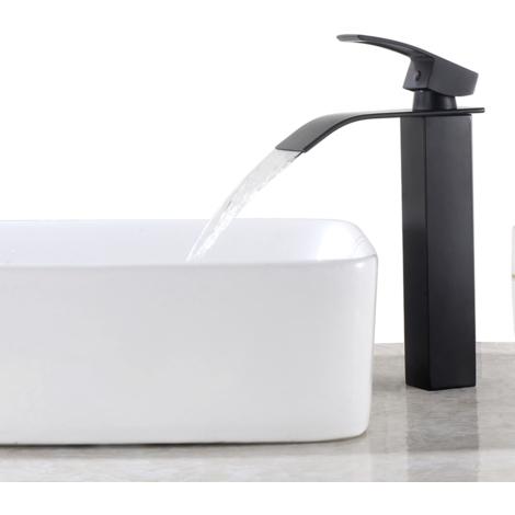 "Black Waterfall Basin Sink Mixer Tap Bathroom Lever Single Handle Brass Faucet, Height 11"""