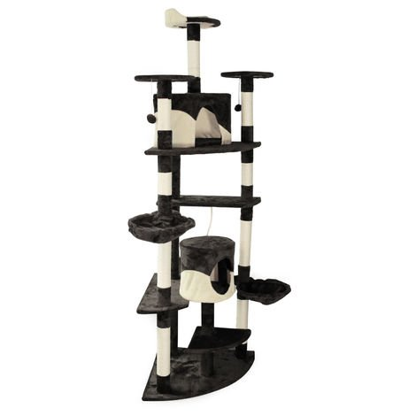 Black/White Corner Cat Tree Scratching Post Climbing Tree 200cm with Platforms, Caves and Hammocks