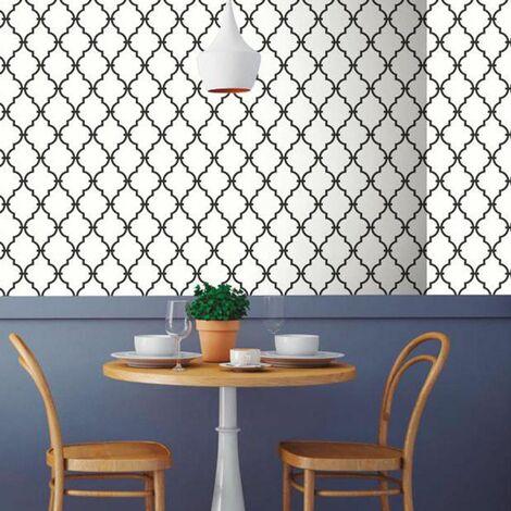 BLACK & WHITE - <p>Papier peint adhésif repositionnable et réutilisable moderne noir et blanc 5x0,50m</p> - Blanc