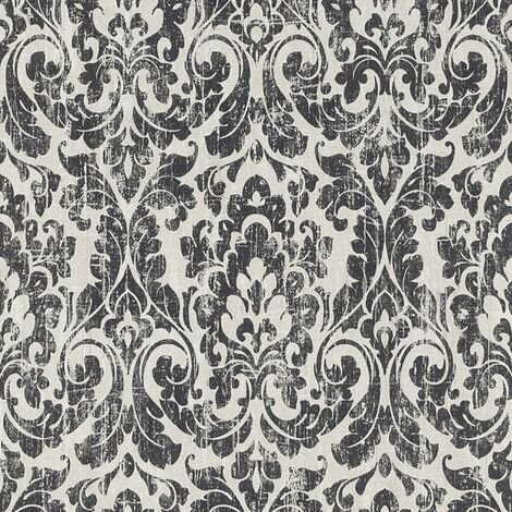Black White Weathered Damask Wallpaper Rasch Vinyl Traditional Paste The Wall