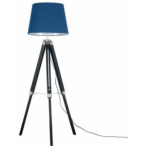Black Wood & Chrome Tripod Floor Lamp with Aspen Shade + 6W LED GLS Bulb - Mustard - Black