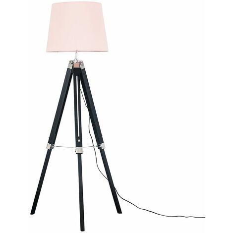 Black Wood & Chrome Tripod Floor Lamp with Aspen Shade - Beige - Black