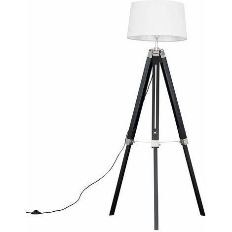 Black Wood & Chrome Tripod Floor Lamp with Doretta Shade - White - Black