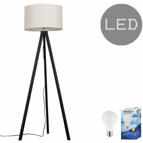 Black Wood Tripod 150cm Floor Lamp + Cream Shade + 6w LED GLS Bulb Warm White