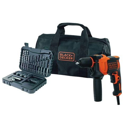 BLACK&DECKER BEH710SA32-QS - Taladro eléctrico percutor 710W con 32 accesorios y bolsa de transporte
