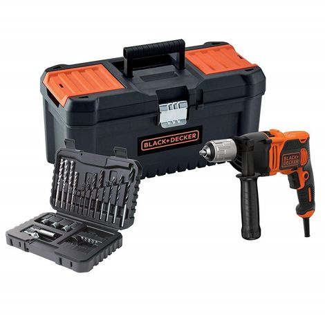 """BLACK&DECKER BEH850KA32-QS - Taladro eléctrico percutor 850W con 32 accesorios y caja de herramientas 16"""""""