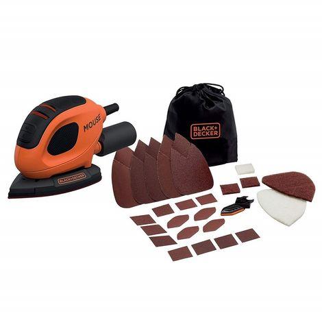 BLACK&DECKER BEW230BC-QS - Lijadora eléctrica Mouse 55W 11.000 rpm 110mm/cm2. Incluye 15 accesorios y bolsa de transporte