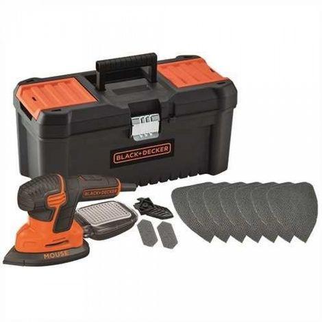 """BLACK&DECKER KA2000KA10-QS - Lijadora eléctrica Mouse 120W con 10 accesorios y caja de herramientas 16"""""""