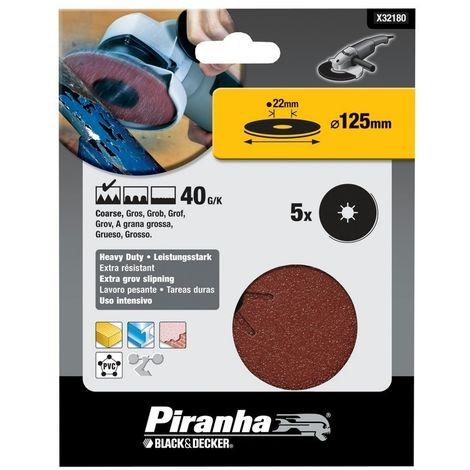 BLACK&DECKER X32180-XJ - Discos de lija base fibra 125x22 mm. Madera. yeso. metal y plástico. Grano 40.
