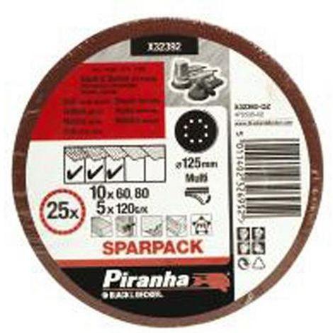 BLACK&DECKER X32392-QZ - Discos de lija para Rotorbital 125mm. Grano Surtido. Madera. pintura y barniz.