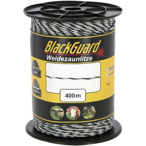 BlackGuard Clôture en osier BlackGuard, 400 m, blanc/noir