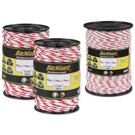 BlackGuard Corde pour clôture électrique avec 3 fils en matériau conducteur TriCOND 0,3 mm - 200 m