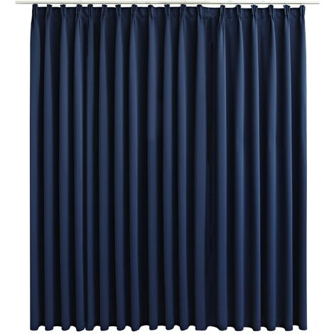 Blackout Curtain with Hooks Blue 290x245 cm