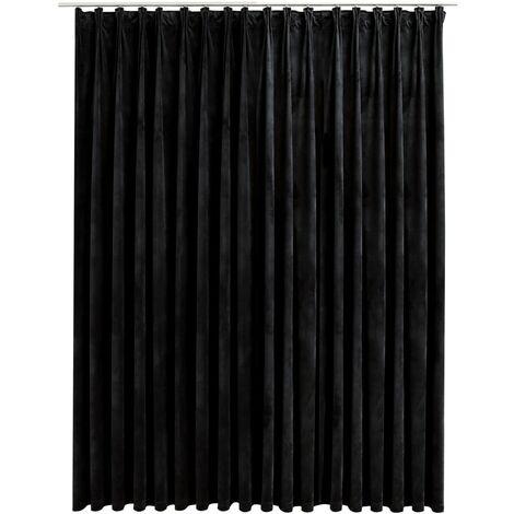 Blackout Curtain with Hooks Velvet Black 290x245 cm