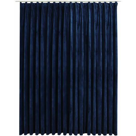 Blackout Curtain with Hooks Velvet Dark Blue 290x245 cm