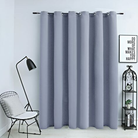 Blackout Curtain with Metal Rings Grey 290x245 cm