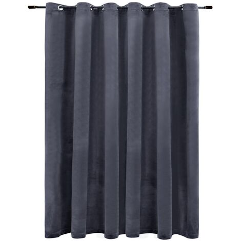 Blackout Curtain with Metal Rings Velvet Anthracite 290x245 cm