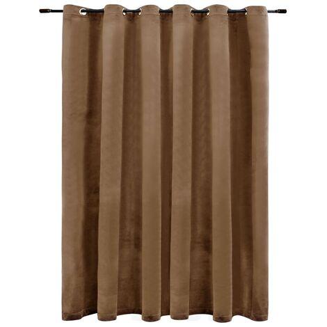 Blackout Curtain with Metal Rings Velvet Beige 290x245 cm