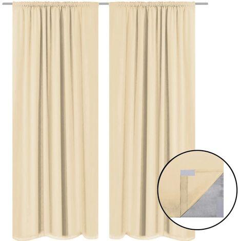 Blackout Curtains 2 pcs Double Layer 140x175 cm Beige