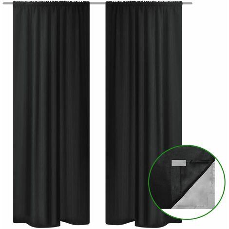 Blackout Curtains 2 pcs Double Layer 140x175 cm Black