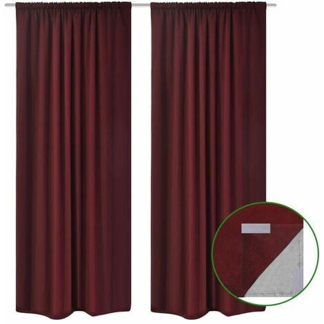 Blackout Curtains 2 pcs Double Layer 140x175 cm Bordeaux