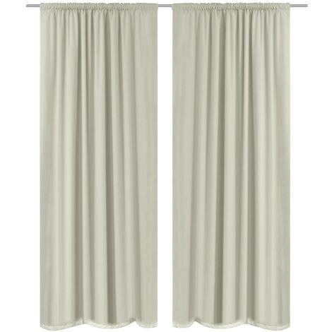 Blackout Curtains 2 pcs Double Layer 140x175 cm Cream