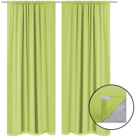 Blackout Curtains 2 pcs Double Layer 140x175 cm Green