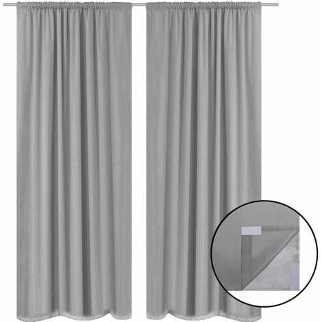 Blackout Curtains 2 pcs Double Layer 140x175 cm Grey